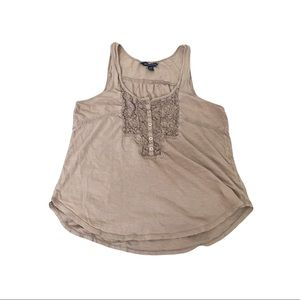AmericanEagleOutfitters Tan Brown Floral Lace Top
